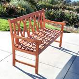 Vifah Malibu All-Weather X-Back Bench in Natural Wood