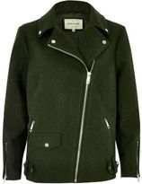 River Island Womens Plus khaki green wool blend aviator coat