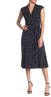London Times Polka Dot Faux Wrap Midi Dress