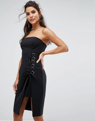 Finders Keepers Finders Unbelievers Bandeau Dress With Lattice Tie-Black
