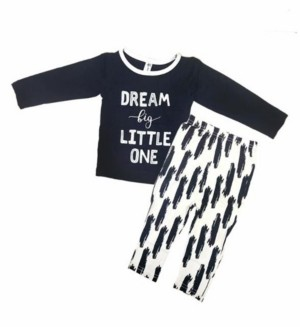 Earth Baby Outfitters Toddler Boys Bamboo Long Sleeve 2 Piece Dream Big Little One Pajamas Set