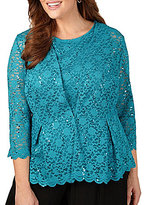 Alex Evenings Plus 3/4 Sleeve Lace Twinset