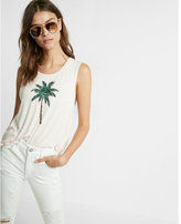 Express sequin palm tree graphic muscle tank