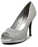 Rampage Gracee Women Peep-toe Canvas Silver Heels.