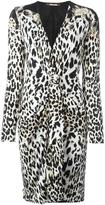 Roberto Cavalli leopard motif fitted dress - women - Silk/Viscose/Wool - 40