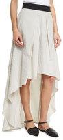 Brunello Cucinelli Striped High-Low Maxi Skirt, Multi