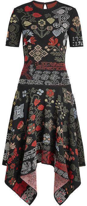 Alexander McQueen Samplers Jacquard Dress with Silk