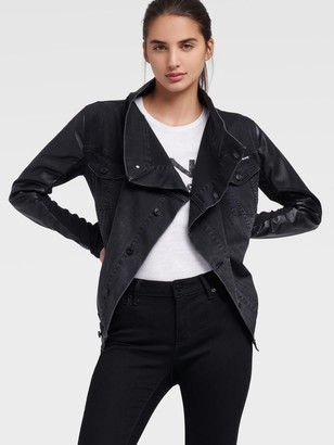 DKNY Women's Denim Waterfall Jacket With Faux Leather Sleeves - Black - Size XX-Small