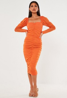 Missguided Orange Ruched Milkmaid Mesh Midaxi Dress