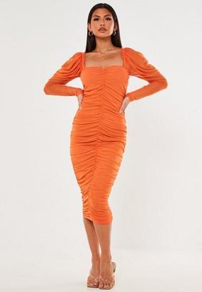Missguided Orange Ruched Milkmaid Mesh Midaxi Dress