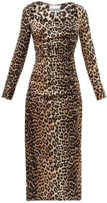 Ganni Gathered Leopard-print Silk-blend Satin Dress - Leopard