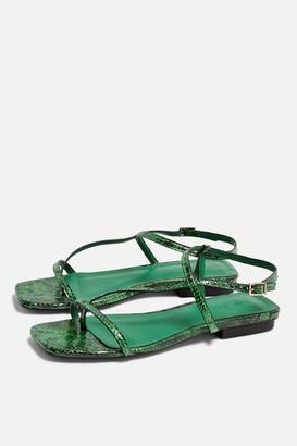 Topshop Womens Haven Green Flat Sandals - Green