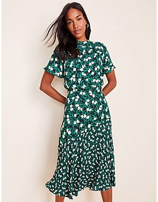 Ann Taylor Petite Mixed Floral Flare Dress