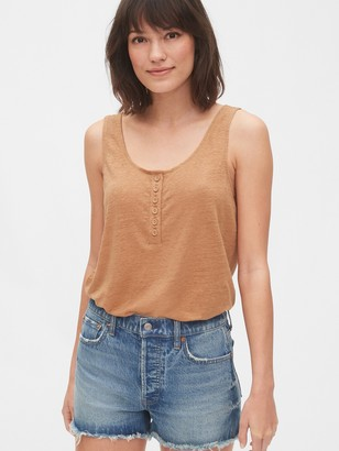 Gap Henley Tank Top in Linen