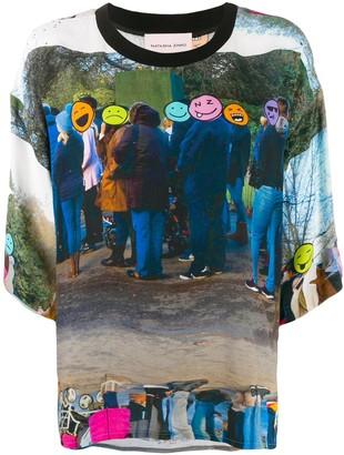 Natasha Zinko Emoji Line-print boxy-fit T-shirt