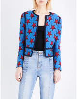 Sandro Cropped star-jacquard blazer