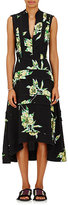 Proenza Schouler Women's Lily-Print Silk Midi-Dress-BLACK