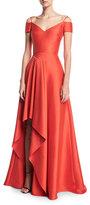 Badgley Mischka V-Neck Cold-Shoulder Stretch-Mikado Evening Gown
