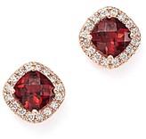 Bloomingdale's Garnet Cushion Cut and Diamond Stud Earrings in 14K Rose Gold - 100% Exclusive