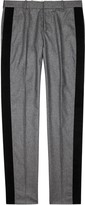 Alexander Mcqueen Grey Velvet-trimmed Wool Trousers
