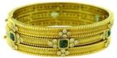 Judith Ripka 18K Yellow Gold Tourmaline Hinged Diamond Bracelets