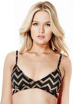 GUESS Women's Chevron Tie-Front Bikini Top
