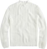 J.Crew Pointelle Ruffle Mock Neck Sweater