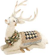 Mackenzie Childs Resting Winter White Stag Ornament