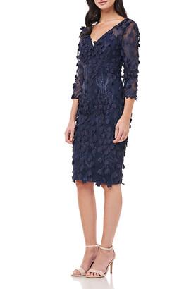 Carmen Marc Valvo 3D Petal Embellished Sheath Dress