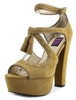 Mojo Moxy Cornelia Women Open Toe Suede Brown Platform Heel.