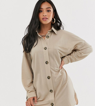 Asos DESIGN Petite utility shirt dress-Green