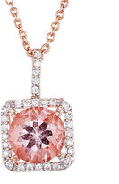 FINE JEWELRY Simulated Morganite 18K Rose Gold Over Sterling Silver Pendant Necklace
