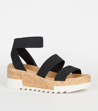 New Look Elastic Ankle Strap Cork Flatform Sandals