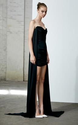 Alex Perry Tristan-Satin Crepe Strapless Cape Mini Dress