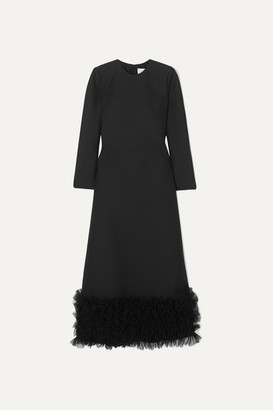 Valentino Tulle-trimmed Wool And Silk-blend Crepe Gown - Black
