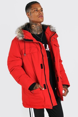 boohoo Mens Red Faux Fur Hooded Arctic Parka, Red