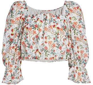 Alice + Olivia Floral Silk-Blend Cropped Blouson Top