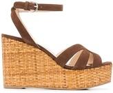 Prada strappy suede wedge sandals