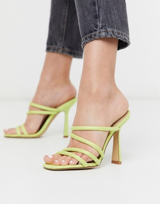 Aldo Arianna strappy heel sandal in lime yellow