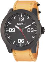 Nixon Men's 'Corporal' Quartz Metal and Leather Watch Color:Orange (Model: A2432448-00)