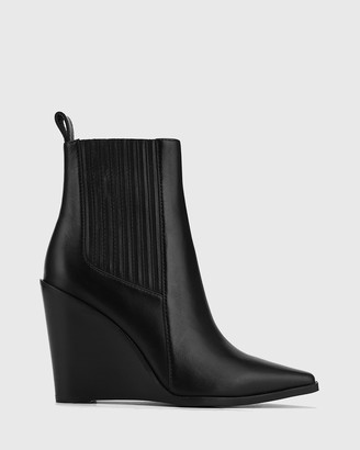 Wittner - Women's Black Ankle Boots - Hadriana Leather Wedge Heel Ankle Boots - Size One Size, 35 at The Iconic