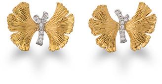 Michael Aram Butterfly Ginkgo Silver & Gold Earrings with Diamonds
