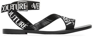 Versace Black Cross Strap Sandals