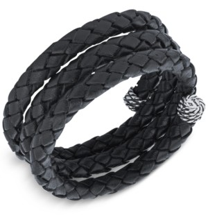 American West Braided Leather Coil Wrap Bracelet in Sterling Silver