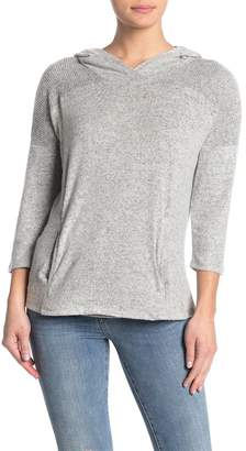 Bobeau Heathered Brushed Knit Pullover Hoodie