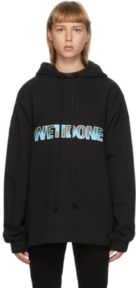 we11done Black New Logo Hoodie