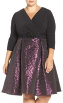 Alex Evenings Embellished Waist Mixed Media Party Dress (Plus Size)