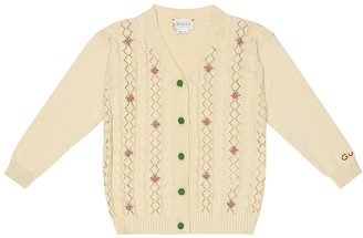 Gucci Kids Embroidered cotton cardigan