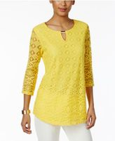 JM Collection Petite Lace Keyhole Tunic, Only at Macy's