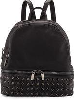 Neiman Marcus Distressed Grommet-Trim Backpack, Black